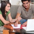 图库照片: Two teenager doing home work