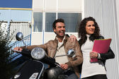 Man on a motorcycle girlfriend — Stock Photo