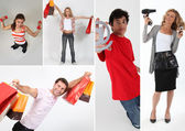 Holding shopping bags, objects or an @ — Stock Photo