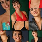Collage of a good-looking woman — Stock Photo