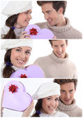 Collage of a couple on Valentine's Day — ストック写真