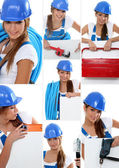 Smiling girl plumber in dungarees — Stock Photo
