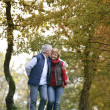 Affectionate couple strolling though park — Stock Photo