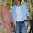 Romantic couple with a bike — Stock Photo #7660904