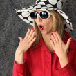 Shocked woman wearing hat — Stock Photo