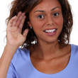 A woman with hearing problems. — Stock Photo