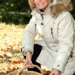 Mature woman picking chestnuts — Stock Photo