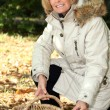 Royalty-Free Stock Photo: Mature woman picking chestnuts