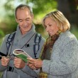 Couple reading a map in a forest — Stok fotoğraf