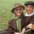 Senior couple relaxing in the park — Stock Photo #7664278