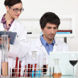 Couple working in a wine laboratory — Stock Photo