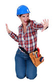 Craftswoman in a good mood — Stock Photo