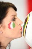 Brunette Italian supporter in profile — Stock Photo