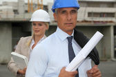 Engineers on a construction site — Stock Photo