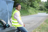 Man waiting for roadside assistance — Stock Photo