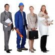 Two men and two women representing various occupations — Stockfoto #7675239