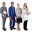 Stock Photo: Two men and two women representing various occupations
