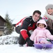 Family on winter holiday — Foto Stock