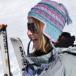 Stock Photo: Womskiing alone