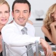 Couple at dinner party with friends — Stock Photo