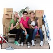 Three house-mates moving — Stock Photo