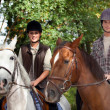 Stock Photo: Young horseriding