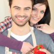 Couple cooking together — Stock Photo #7677766