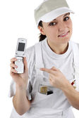 Craftswoman holding a cell phone — Stock Photo