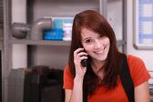 Apprentice on the phone — Stock Photo