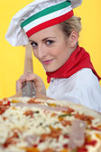 Blonde pizzaiola — Stock Photo