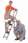 Two decorators collaborating on project — Stock Photo