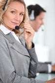 Blond call centre worker — Stock Photo