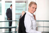 Businesswoman with jacket — Stock Photo