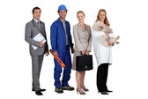 Two men and two women representing various occupations — Stock Photo