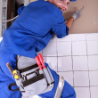 Electrician wiring a house - Foto de Stock  