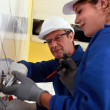 Stock Photo: A young female electrician and a mature electrician