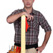 Stock Photo: Woodworker posing