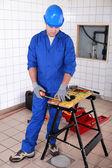 Craftsman taking measurements — Stock Photo