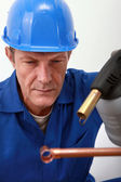 Close-up of blue-collar — Stock Photo