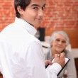 Waiter taking an order in a restaurant — Stock Photo