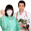 Medical team attaching a drip to a bonsai tree — Stock Photo