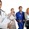 Stock Photo: MD , mechanic, doctor and secretary.