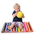 Little boy sat with colouring pencils — Stock Photo #7708113