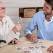 Stock Photo: Mother and son playing cards