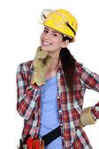Carpintero mujer feliz — Stockfoto