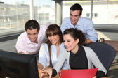 Business team laughing — Stock Photo