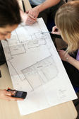 Group designing real estate plan — Stock Photo