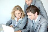 Three executives examining laptop computer — Stock Photo