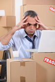 Man facing a logistical nightmare — Stock Photo
