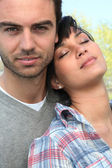 Woman leaning against her boyfriend's shoulder — Stock Photo